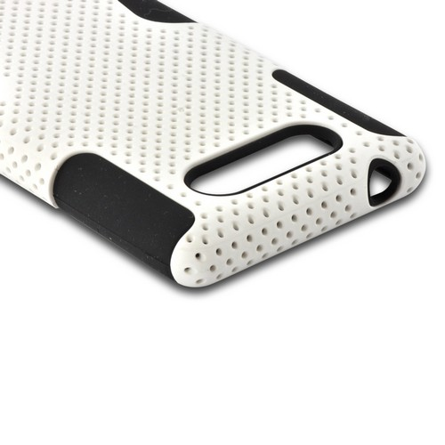 White Mesh on Black Rubberized Hard Cover on Silicone for Nokia Lumia 820