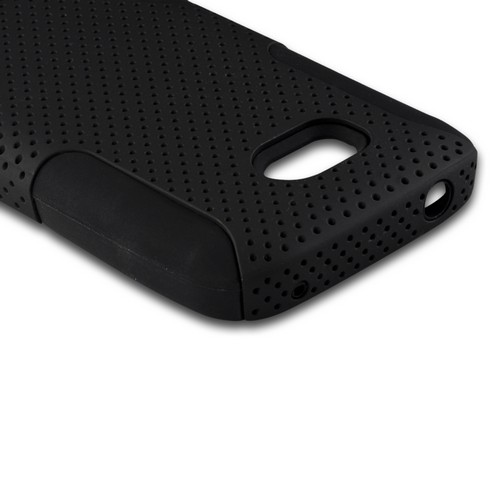 Black Mesh on Black Rubberized Hard Case Over Silicone for Nokia Lumia 822