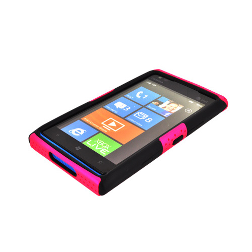 Nokia Lumia 900 Rubberized Hard Case Over Silicone - Hot Pink Mesh on Black