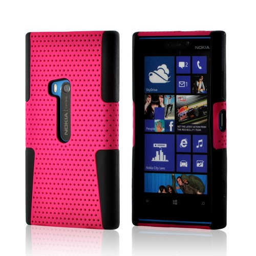 Hot Pink Mesh on Black Silicone for Nokia Lumia 920