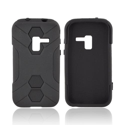 Samsung Conquer 4G Rubberized Hard on Silicone Case - Black/ Black