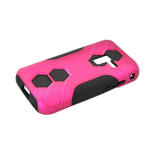 Samsung Conquer 4G Rubberized Hard on Silicone Case - Rose Pink/ Black