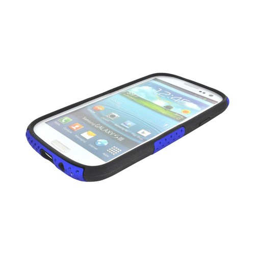 Samsung Galaxy S3 Rubberized Hard Case Over Silicone - Blue Mesh on Black