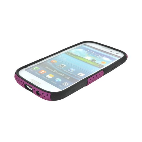 Samsung Galaxy S3 Rubberized Hard Case Over Silicone - Purple Mesh on Black