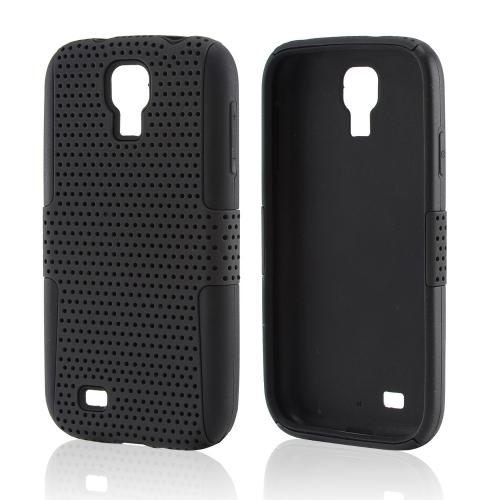 Black Mesh on Black Silicone Hybrid Case for Samsung Galaxy S4