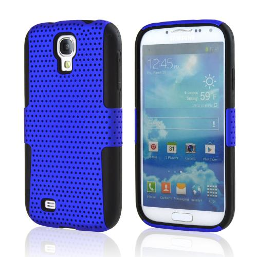 Blue Mesh on Black Silicone Hybrid Case for Samsung Galaxy S4