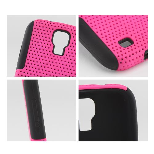 Hot Pink Mesh on Black Silicone Hybrid Case for Samsung Galaxy S4
