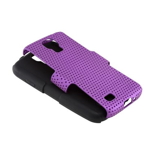 Purple Mesh on Black Silicone Hybrid Case for Samsung Galaxy S4