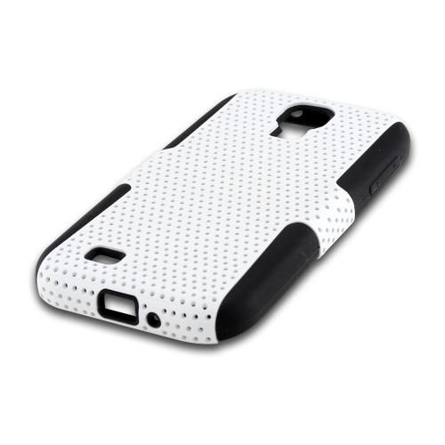 White Mesh on Black Silicone Hybrid Case for Samsung Galaxy S4
