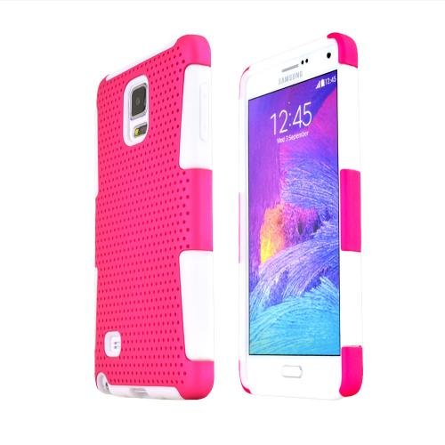 Samsung Galaxy Note 4 Case, [Hot Pink] Rubberized Mesh Slim & Protective Rubberized Matte Finish Snap-on Hard Polycarbonate Plastic Case Cover