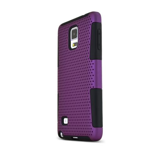 Samsung Galaxy Note 4 Case, [Purple] Rubberized Mesh Slim & Protective Rubberized Matte Finish Snap-on Hard Polycarbonate Plastic Case Cover