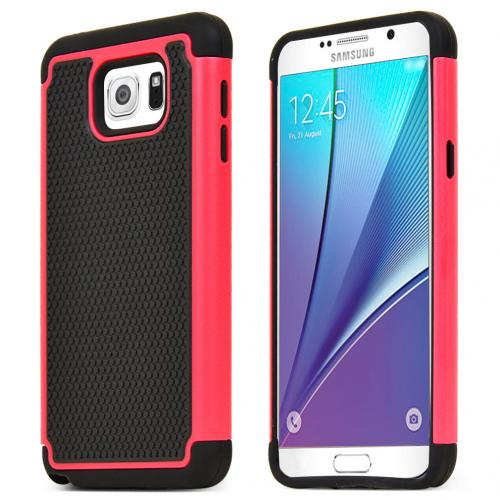 Samsung Galaxy Note 5 Holster Case, [Black] Rubberized Matte Plastic on Silicone Dual Layer Hybrid Case