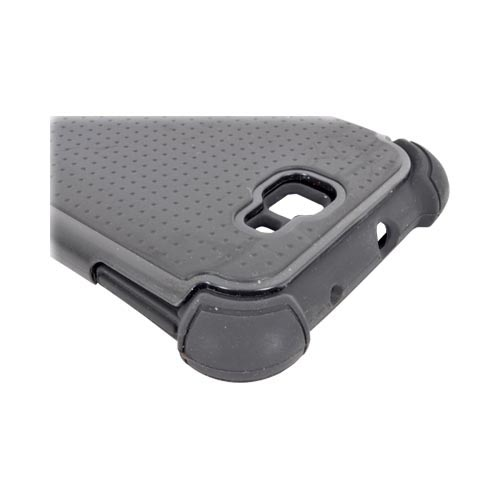 Samsung Galaxy Note Perforated Hybrid Hard Cover Over Silicone Case - Black