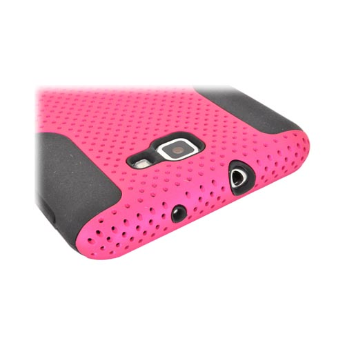 Samsung Galaxy Note Rubberized Hard Case Over Silicone - Hot Pink Mesh on Black