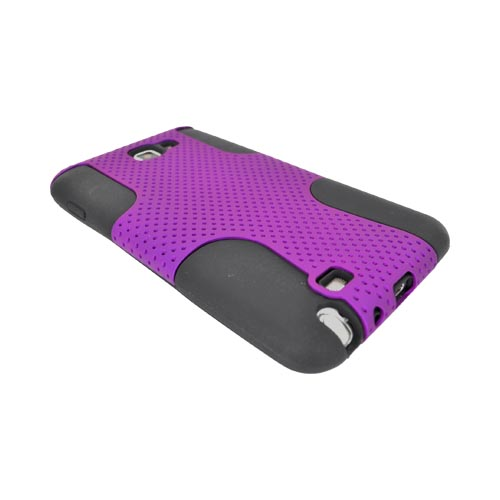 Samsung Galaxy Note Rubberized Hard Case Over Silicone - Purple Mesh on Black