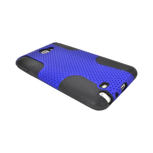 Samsung Galaxy Note Rubberized Hard Case Over Silicone - Blue Mesh on Black