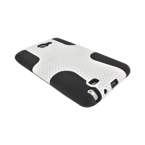 Samsung Galaxy Note Rubberized Hard Case Over Silicone - White Mesh on Black