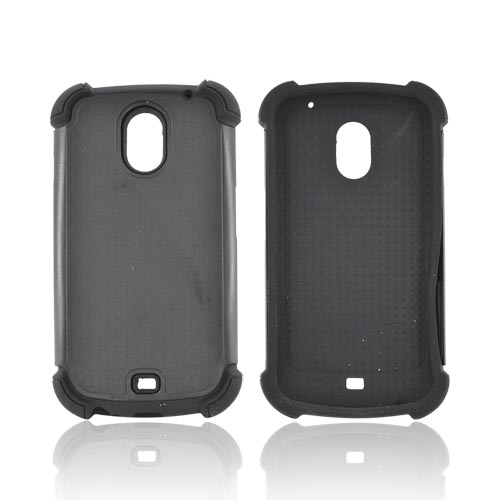 Samsung Galaxy Nexus Perforated Hybrid Hard Cover Over Silicone Case - Black