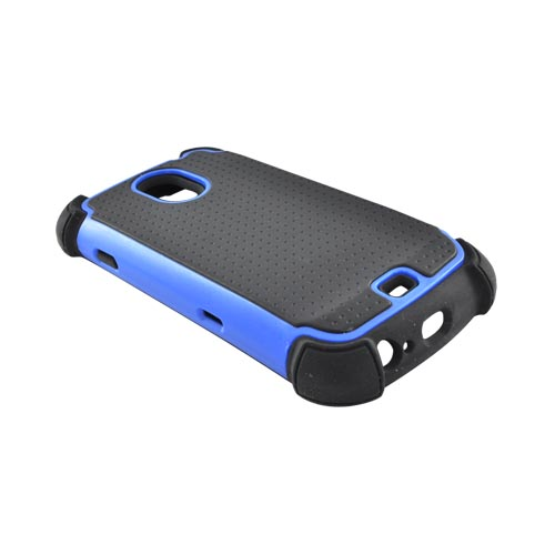 Samsung Galaxy Nexus Perforated Hybrid Hard Cover Over Silicone Case - Black/ Blue