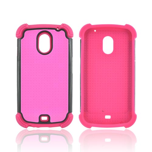 Samsung Galaxy Nexus Perforated Hybrid Hard Cover Over Silicone Case - Hot Pink/ Black