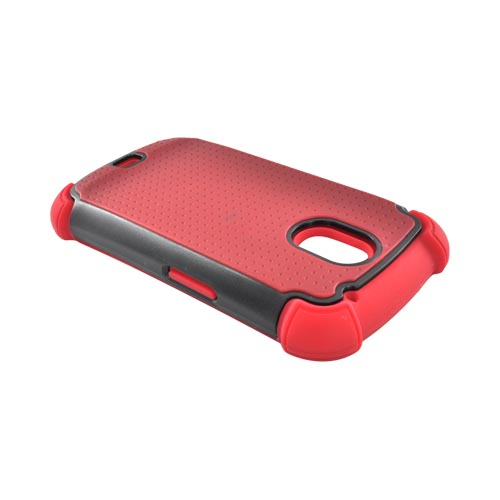 Samsung Galaxy Nexus Perforated Hybrid Hard Cover Over Silicone Case - Red/ Black