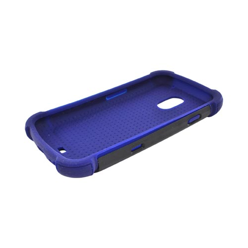 Samsung Galaxy Nexus Perforated Hybrid Hard Cover Over Silicone Case - Sky Blue/ Navy Blue/ Black