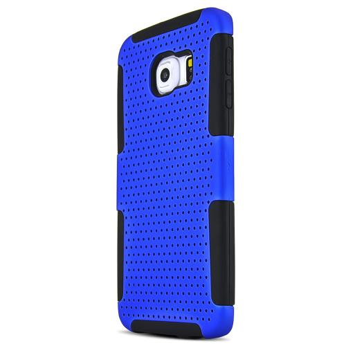 Samsung Galaxy S6 Edge Case,  [Blue]  Supreme Protection Rubberized Plastic on Silicone Dual Layer Hybrid Case