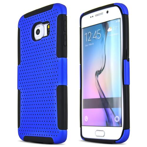Galaxy S6 Edge Case, [Blue] Supreme Protection Rubberized Plastic on Silicone Dual Layer Hybrid Case for Samsung Galaxy S6 Edge