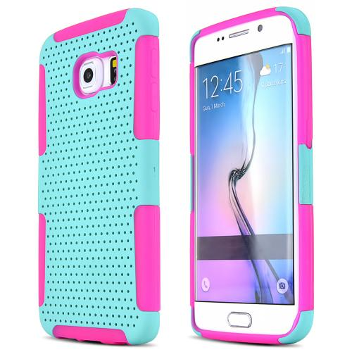 Samsung Galaxy S6 Edge Case,  [Mint]  Supreme Protection Rubberized Plastic on Silicone Dual Layer Hybrid Case