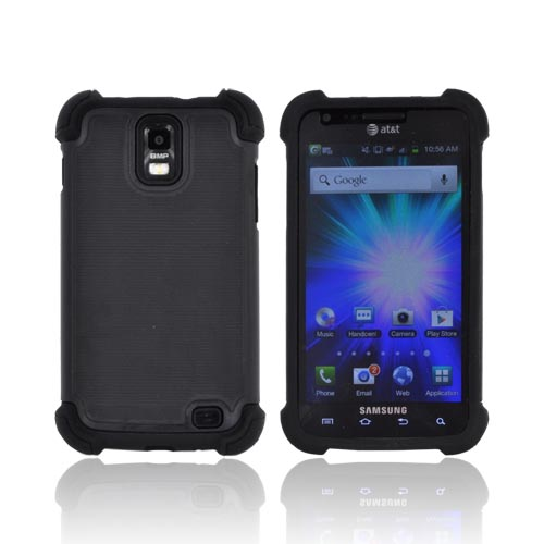Samsung Galaxy S2 Skyrocket Perforated Hybrid Hard Cover Over Silicone Case - Black