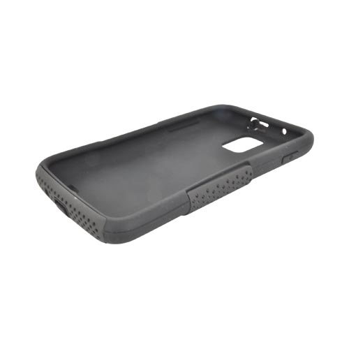 Samsung Galaxy S2 Skyrocket Rubberized Hard Case Over Silicone - Black Mesh