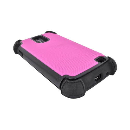 Samsung Galaxy S2 Skyrocket Perforated Hybrid Hard Cover Over Silicone Case - Hot Pink/ Black