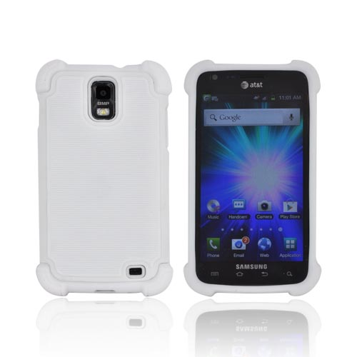 Samsung Galaxy S2 Skyrocket Perforated Hybrid Hard Cover Over Silicone Case - White