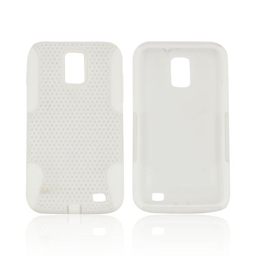 Samsung Galaxy S2 Skyrocket Rubberized Hard Case Over Silicone - White Mesh