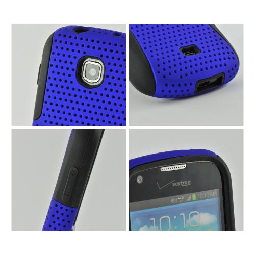 Blue Mesh on Black Rubberized Hard Case Over Silicone for Samsung Galaxy Stellar