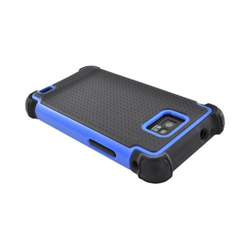 AT&T Samsung Galaxy S2 Perforated Hybrid Hard Cover Over Silicone Case - Black/ Blue