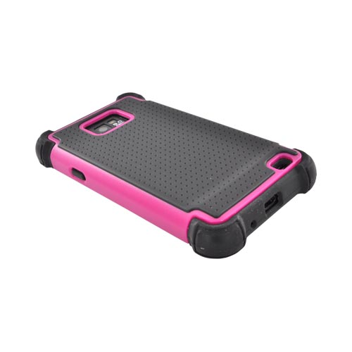 AT&T Samsung Galaxy S2 Perforated Hybrid Hard Cover Over Silicone Case - Black/ Pink