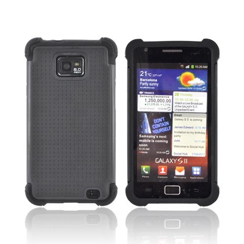 AT&T Samsung Galaxy S2 Perforated Hybrid Hard Cover Over Silicone Case - Black