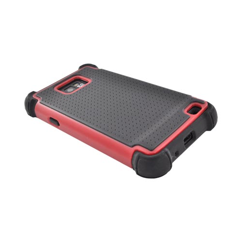 AT&T Samsung Galaxy S2 Perforated Hybrid Hard Cover Over Silicone Case - Black/ Red