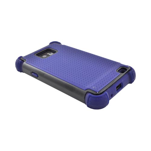 AT&T Samsung Galaxy S2 Perforated Hybrid Hard Cover Over Silicone Case - Navy Blue/ Black
