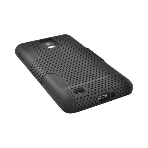Samsung Infuse i997 Rubberized Hard Case Over Silicone - Black Mesh