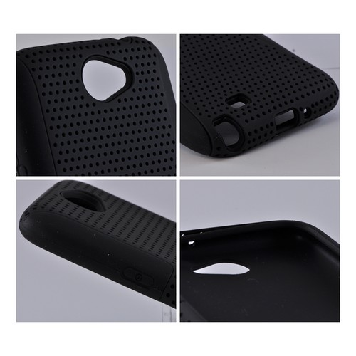 Samsung Galaxy Note 2 Rubberized Hard Case Over Silicone - Black Mesh on Black