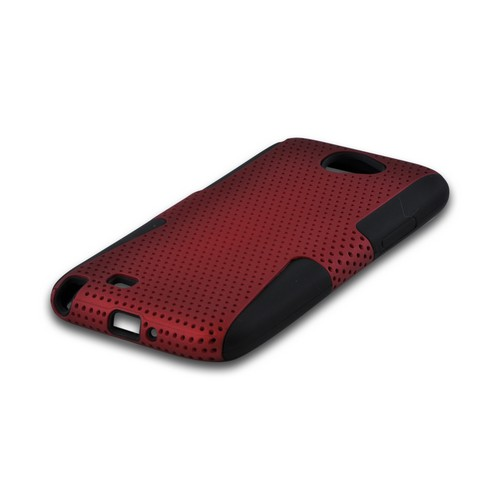 Samsung Galaxy Note 2 Rubberized Hard Case Over Silicone - Red Mesh on Black