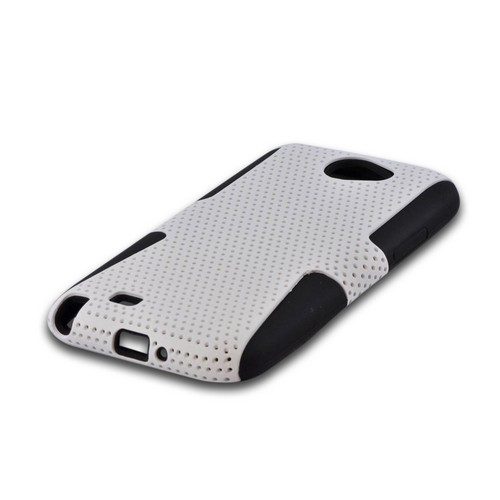 Samsung Galaxy Note 2 Rubberized Hard Case Over Silicone - White Mesh on Black