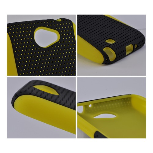 Samsung Galaxy Note 2 Rubberized Hard Case Over Silicone - Black Mesh on Yellow