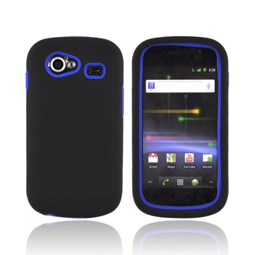 Google Nexus S Rubberized Hard Case w/ Silicone Case - Blue/ Black