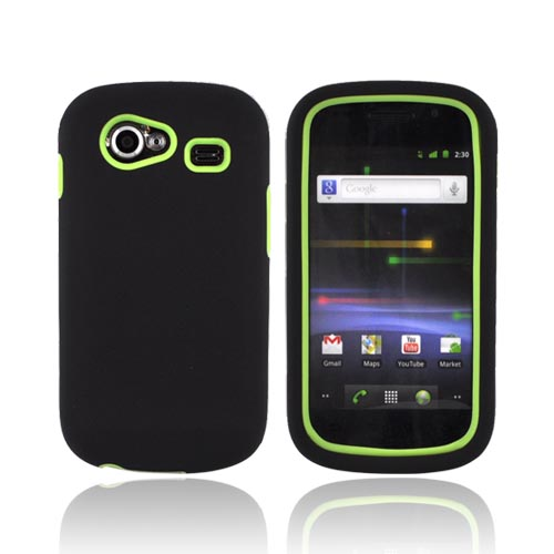 Google Nexus S Rubberized Hard Case w/ Silicone Case - Lime Green/ Black