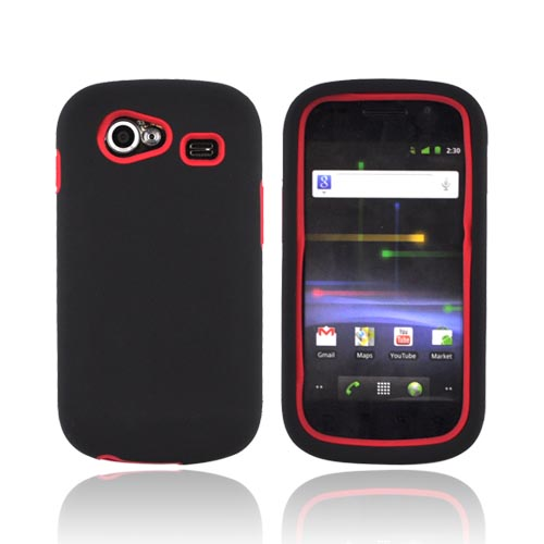 Google Nexus S Rubberized Hard Case w/ Silicone Case - Red/ Black