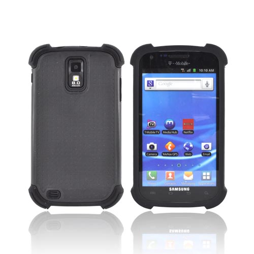 T-Mobile Samsung Galaxy S2 Perforated Hybrid Hard Cover Over Silicone Case - Black