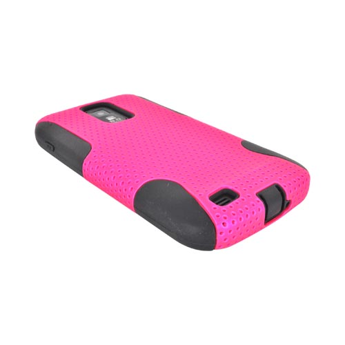 T-Mobile Samsung Galaxy S2 Rubberized Hard Case Over Silicone - Hot Pink Mesh on Black